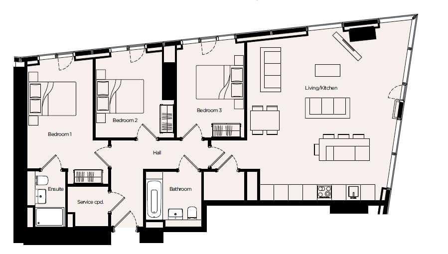 英國三房公寓